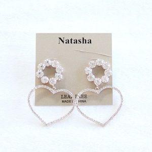 Natasha Champagne Gold Rhinestone Heart Earrings